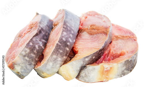 Fish steak over white background