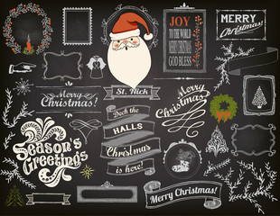 Christmas Design Elements on Chalkboard