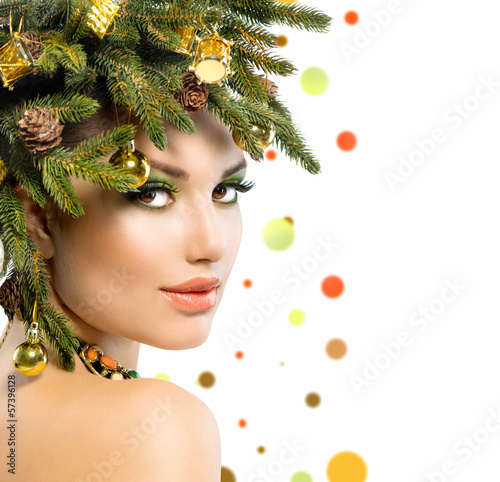 Christmas Woman. Christmas Tree Holiday Hairstyle and Make up
