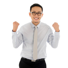 Asian business male celebrating success