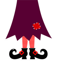 Halloween Witch legs vector isolated on white