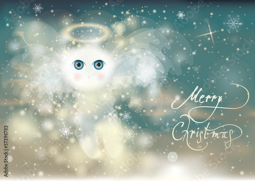 Adorable Cherub / Christmas angel with beautiful blue eyes