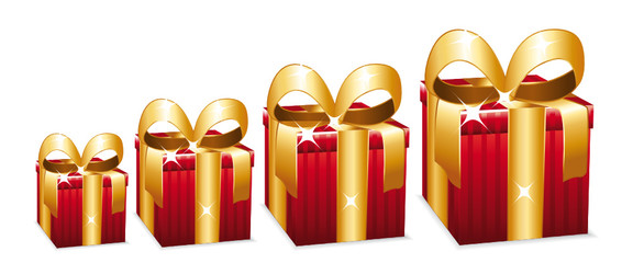 Beautiful red gift boxes with large golden bow.