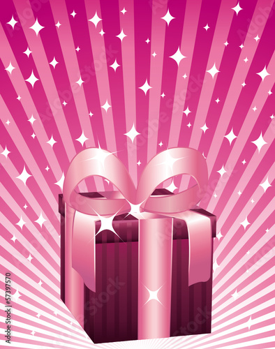 Beautiful brown and pink gift box on a magic background.