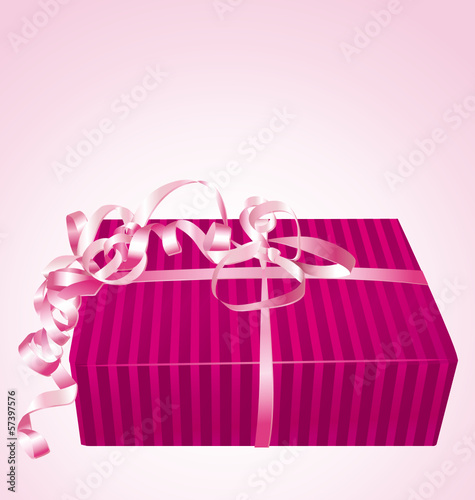 Beautiful pink gift box on a sweet pink background.