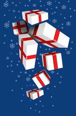 Подарочные коробки падают сверху вниз.Векторное изображение