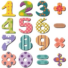 scrapbook numbers and signs on white background