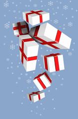 Подарочные праздничные коробки падают сверху вниз.