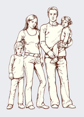Vektor Illustration: junge Familie