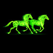 Fire horses in green.