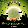 Vector illustration on a Happy Halloween theme with pumpkins