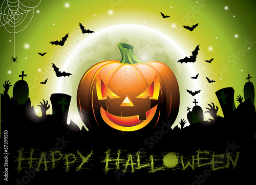 Vector illustration on a Happy Halloween theme with pumpkin