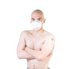 Patient in respirator mask.