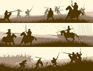 Horizontal banners of medieval battle.