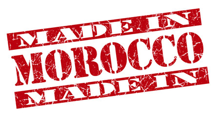 made in Morocco grunge stencil font red stamp