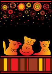 Set of funny cats. Vector illustration.