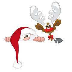 weihnachtsmann mit Rentier (Comic) / santa with reindeer (comic)