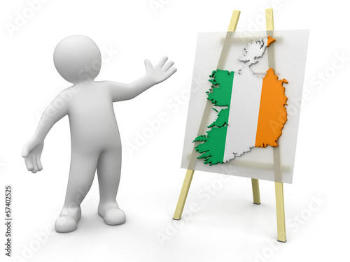Man and Irish map (clipping path included)