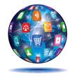 Internet Concept. Globe. Application icons.