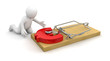 Man and Mousetrap with Euro Sign (clipping path included)