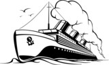 cruise liner in retro style steamer with smoke in the sea voyage