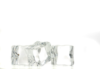 ice cubes over white background.