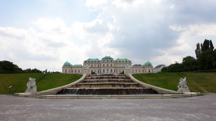Cascade fountain in The Belvedere complex in cloudy day