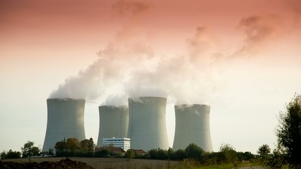 Nuclear power station Temelin at sunset