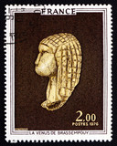Postage stamp France 1976 Venus of Brassempouy, Ivory Figurine f
