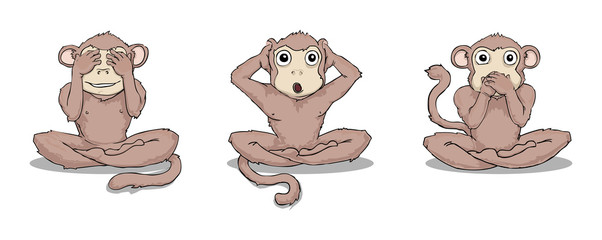 Three wise monkeys (see, hear, speak no evil)