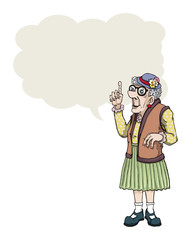 Old cartoon lady making a point