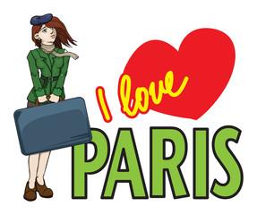 Girl with big suitcase, i love paris