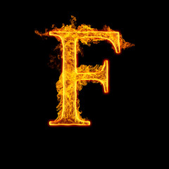 Fire alphabet letter F
