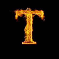 Fire alphabet letter T