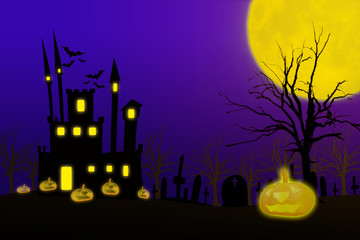 Halloween night background with creepy castle