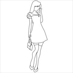 иллюстрация гуляющей девушки