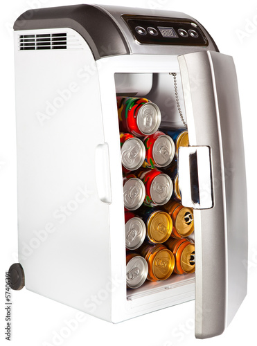 The portable road refrigerator with cans inside..
