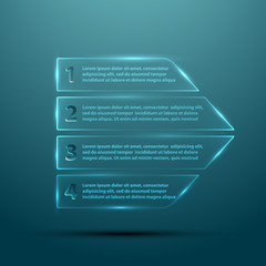 Vector glass arrow template for infographic