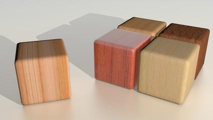 Wooden cubes - Essences - Logo