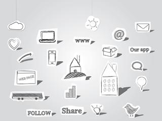 Paper cutout symbols