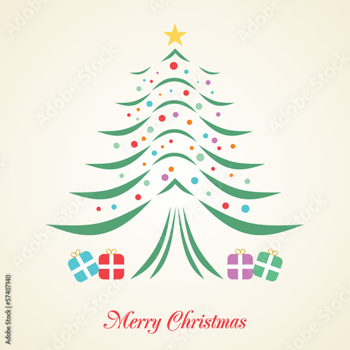 Christmas tree creative card on background