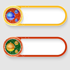 two vector abstract buttons with a Christmas balls