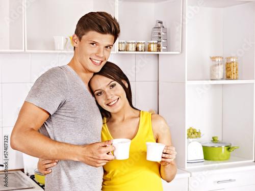 Couple breakfast at kitchen.