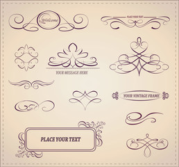 Vector set:calligraphic design elements and page decoration.