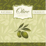 Vector olive oil.  For label, pack. Olive pattern.