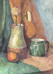 Still life: Flowers in Jug and Mug