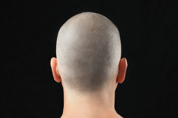 Buddhist Shaved Head, From Behind