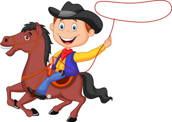 Cowboy rider on the horse throwing lasso