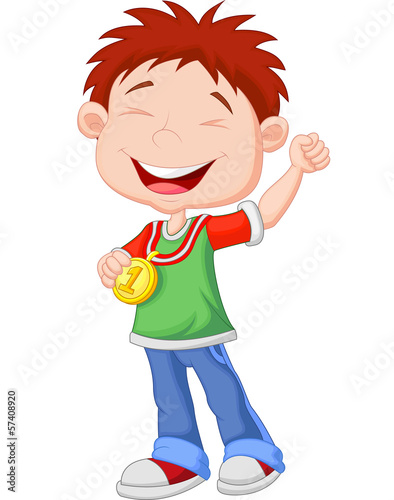 Little boy celebrates his golden medal