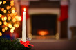 bees wax christmas candle focus on candle